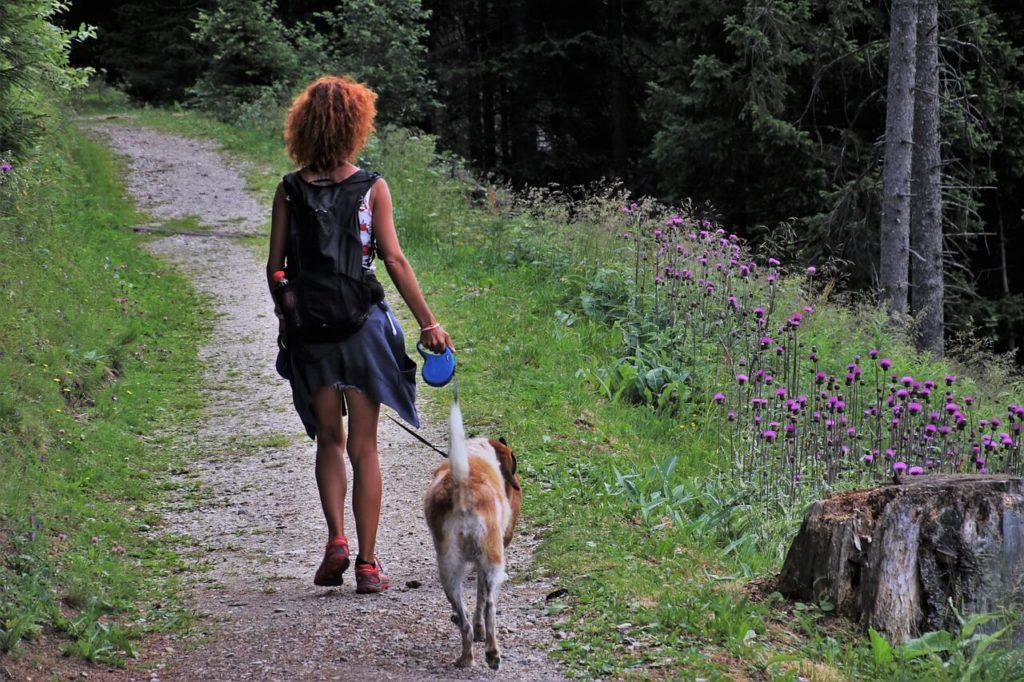 Kobieta spacerująca z psem
